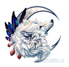 Sapphire eyes by areot on DeviantArt Finished piece of YCH for WhiteWinterWolf with beautiful Sheru *-*This ornament is really made for her ^-^program: PS & Sai l original size: 800 px_______________ art . Fantasy Wolf, Fantasy Art, Cute Animal Drawings, Cool Drawings, Wolf Hybrid, Wolf Artwork, Wolf Spirit Animal, Wolf Love, Wolf Pictures