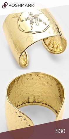 Gold sand dollar cuff Brand new, unbranded and super cute! So on trend! Reasonable offers always considered, and I ship next day! J. Crew Jewelry Bracelets