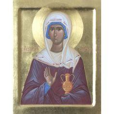Icon of Saint Martha, catalog of St Elisabeth Convent. Saint Martha, St Agnes, Hand Carved, Hand Painted, Best Icons, Byzantine Icons, Religious Icons, Art Icon, Orthodox Icons
