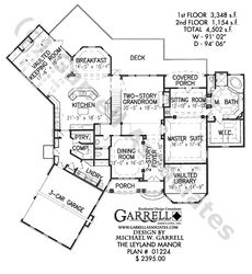 Laurelwood Manor House Plan 07060, 1st Floor Plan, Master Down ...