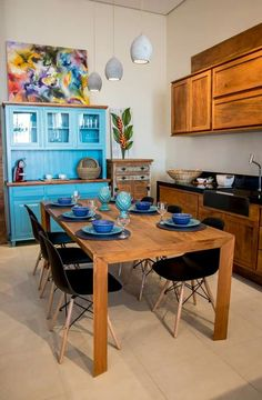 Lustres para a copa - Nice Dining Room, Dining Table, Ideas Hogar, Rustic Kitchen, Eames, My Dream Home, New Homes, House Styles, Furniture