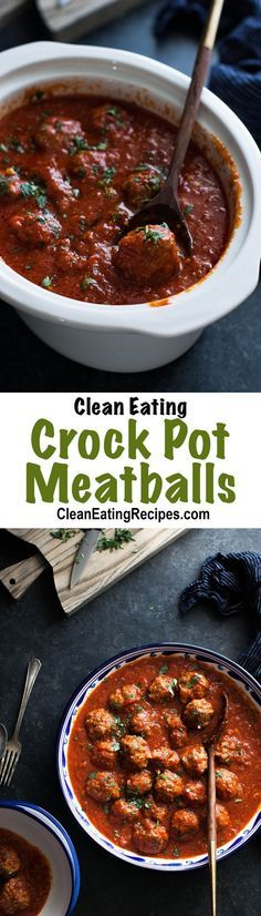 Clean Eating Crock Pot Spaghetti Sauce with Meatballs Recipe - I love how flavorful this is! And easy too! And you can make it either on the stovetop or the crock pot.