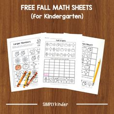 Keep math prep to a minimum with these FREE Fall math worksheets. We've included pattern work, a simple graphing exercise, and comparing two numbers. #kindergarten #freeprintablesforkids #mathworksheets #fallactivities Kindergarten Names, Kindergarten Activities, Kid Activities, Teaching Calendar, Math Sheets, Preschool Printables, Math Worksheets, Math Centers, Fall