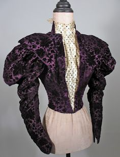 "1890s Victorian Voided Purple Velvet Bodice -- reminds me of ""Anne of Green Gables,"" where Marilla tells Anne she'll have to turn sideways to go through a door."
