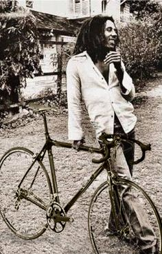 Mr. Bob Marley with his bike.