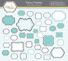 Fancy Frames Clip Art // 36 PNG Images of Fancy Tags, Frames, Labels in Tiffany Blue & Gray