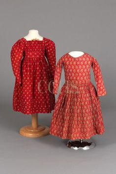 Dress, 1830-1840 | Chester County Historical Society Two children's dresses in turkey red prints.