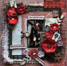You Only Live Once Premade Scrapbook Page Vintage Steampunk Steam Punk Girlie Grunge Art Layout Tim Holtz, Dusty Attic, Prima. $28.00, via Etsy.
