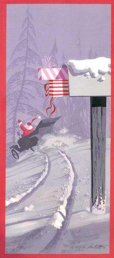 old convertible car - Ralph Hulett Christmas card Christmas Mail, Christmas Scenes, Christmas Greetings, All Things Christmas, Christmas Time, Father Christmas, Christmas Glitter, Vintage Christmas Images, Retro Christmas