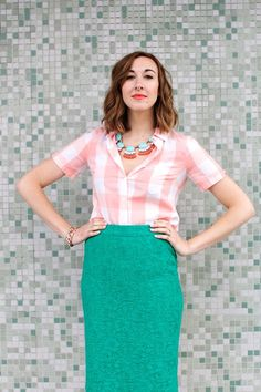 Kelly Green Skirt & Salmon and White Big Plaid Blouse