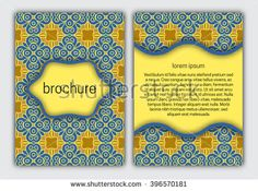 #Brochure blue and gold #cover template. #Booklet, #brochure, #card, #book cover layout #design.