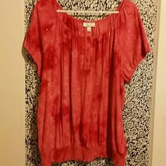 Cute Shirt Really cute red and orange summer shirt with some sequence. Dress Barn Tops Blouses