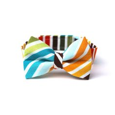 Baby Boy's Bow Tie - Multicolor Stripe - Brown Red Orange Yellow Green Blue White Multi Bowtie.  via Etsy.