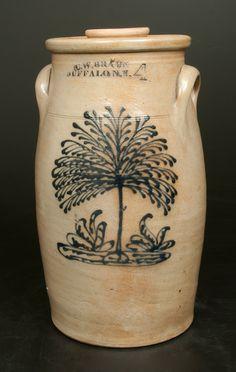 """Four-Gallon Stoneware Churn, Stamped """"C.W. BRAUN / BUFFALO N.Y.,"""" circa 1870"""
