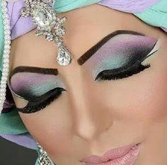 Pastel arabic Asian bridal makeup