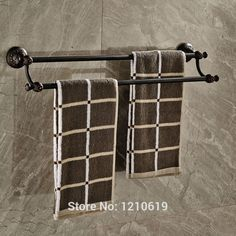 51.35$  Watch here - Newly Oil Rubbed Bronze Double Towel Bars Rails Retro Style Bathroom Towel Rack Shelf Wall Mount  #buychinaproducts