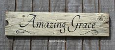 Holiday Decor Amazing Grace Wood Sign Scripture Rustic Weathered Driftwood Painted Religious Wall Decor Gift on Etsy, $43.00