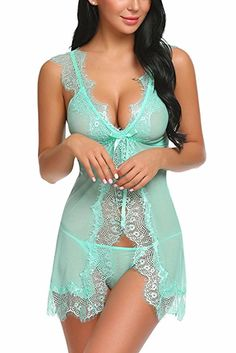 Buy Women Lingerie Patchwork Sleepwear Lace Babydoll Strap Halter Chemise - Style - and Others Best Selling Women's Lingerie with Affordable Prices Sexy Outfits, Lingerie Outfits, Lingerie Sleepwear, Jolie Lingerie, Lingerie Set, Seductive Lingerie, Pretty Lingerie, Beautiful Lingerie, Ropa Interior Babydoll