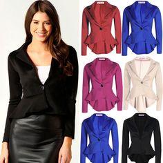 Vintage Power Shoulder Suit Women Slim Formal Sexy Swallow-tail Coat Blazer New #Unbranded #BasicCoat