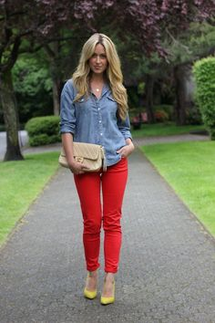chambray + red + yellow