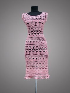 Crochet Dress Catherine. Ready to ship. Pink Day or Cocktail Organic Cotton Crochet Dress.