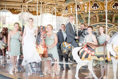 Wedding party photo in DUMBO, Brooklyn Bridge Park, Jane's Carousel. Photos by Mikkel Paige Photography, NYC wedding photographer. #mikkelpaige #bridalparty #carousel #weddingparty #brooklynweddingphotos