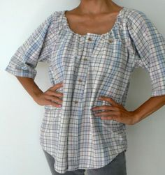 Peasant blouse from a man's shirt