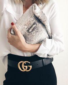 python clutch gucci belt