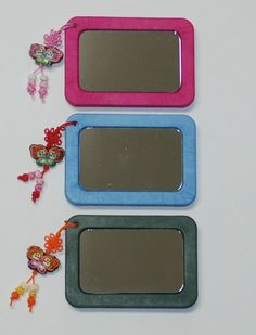 Hand mirror  DIY kit Pocket mirror Compect by koreanpaperart7