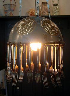Diy Studio Lighting New Hutch Studio Colander Light Silverware Jewelry. Kitchen Chandelier, Kitchen Lighting, Rustic Chandelier, Colander Light, Diy Luz, Luminaire Original, Recycled Kitchen, Deco Restaurant, Silverware Art