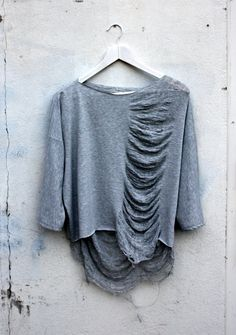 Shredded cropped jersey top by thehouseof4 on Etsy, €65.00