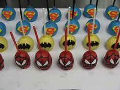 Super hero cake pops - Spider-Man, Batman and superman Party Treats, Party Cakes, Superhero Cake Pops, Cake Push Pops, Superhero Birthday Party, 5th Birthday, Birthday Ideas, Pop Maker, Cakes For Boys