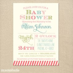 Spring Fling Baby Shower Printable Invitation OR Printed Card. Love the colors.