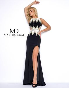 Sexy Mac Duggal Lace Embroidered Long MAC DUGGAL Prom Gown with Slit #40626M