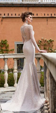 mermaid wedding dresses with illusion long sleeves with buttons oksana mukha