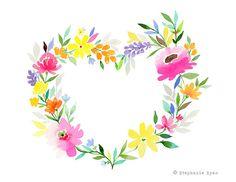 Etsy の Heart Wreath Art Print by stephanieryanart