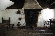Fireplace In Old Whitewashed Irish Cottage