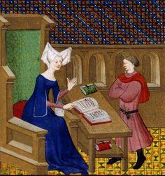 Christine de Pisan instructs her son, Jean de Castel. Collected Works of Christine de Pisan, ca. 1413