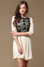 Apricot Long Sleeve Embroidery Organza Dress $120.97 #SheInside