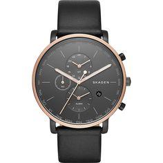 Skagen Men's SKW6300 Hagen Black Leather Watch