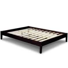 Best Price Mattress Solid Hardwood Platform Bed, Queen, Chocolate