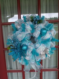 Deco Mesh Christmas Turquoise and White Wreath