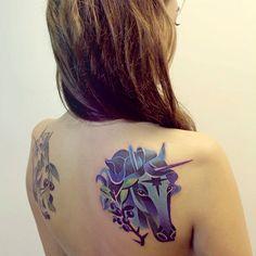 http://www.noregretsstudios.co.uk/watercolour-like-tattoos-by-sasha-unisex/ Blue Unicorn Tattoo By Sasha Unisex
