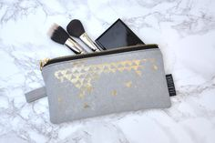 Makeup Pouch, Gold Foil, Screen Printing, Zip Around Wallet, Make Up, The Originals, Bags, Etsy, Design