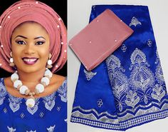Whole set of 5 yards African George Lace fabric matching beaded Aso Oke headtie gele with stones Hot sale
