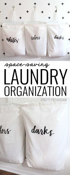 """I love this space-saving laundry organization idea! They are the best laundry bags around, and the """"whites, colors, darks"""" labels are so pretty too! #CricutMade #sayitwithcricut #ad"""