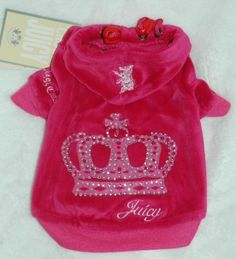 Juicy Couture Bright Pink Rhinestone Crown Velour Dog Hoodie Shirt Clothes