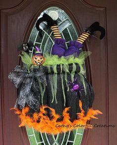 Halloween Wreath Deco Mesh Witch Wreath Cauldron Wreath