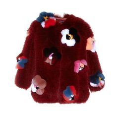 Fendi Flowerland appliqué fur coat (49 190 PLN) ❤ liked on Polyvore featuring outerwear, coats, red multi, collarless coat, fendi coat, red shrug cardigan, shrug cardigan and fur coat