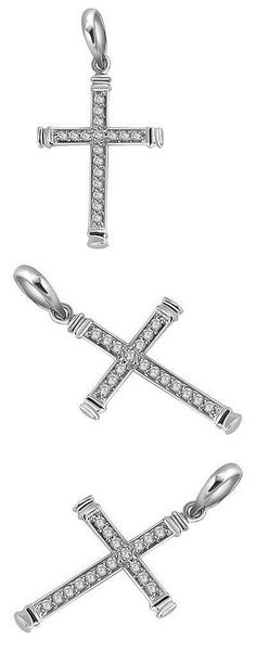 Diamond 164331: Si1 G 0.50Ct Round Cut Diamond Cross Pendant Necklace 14Kt White Gold 1.20 Inch -> BUY IT NOW ONLY: $448.99 on eBay!